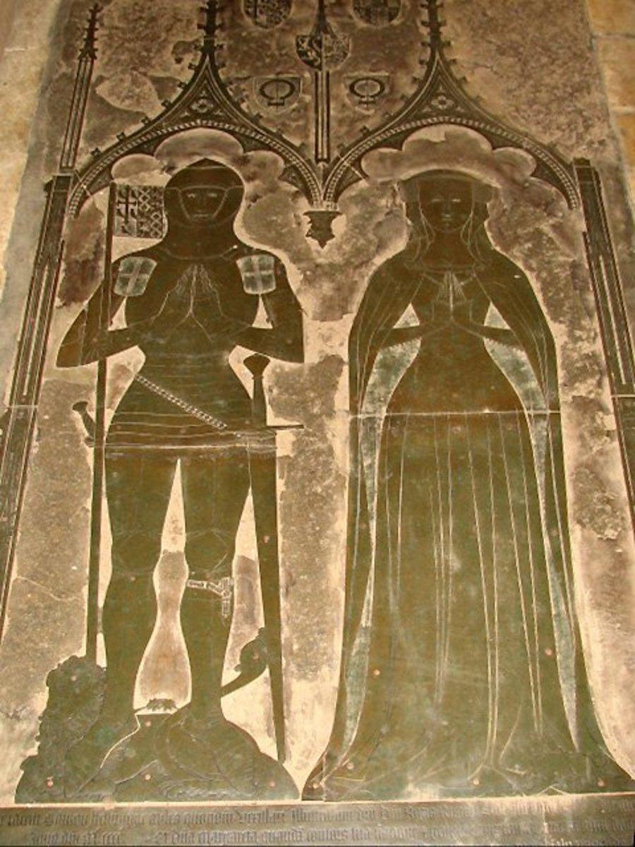 Original brass monument of Simon de Felbrigge and wife at St. Margaret's Church, Felbrigg, Norfolk, England