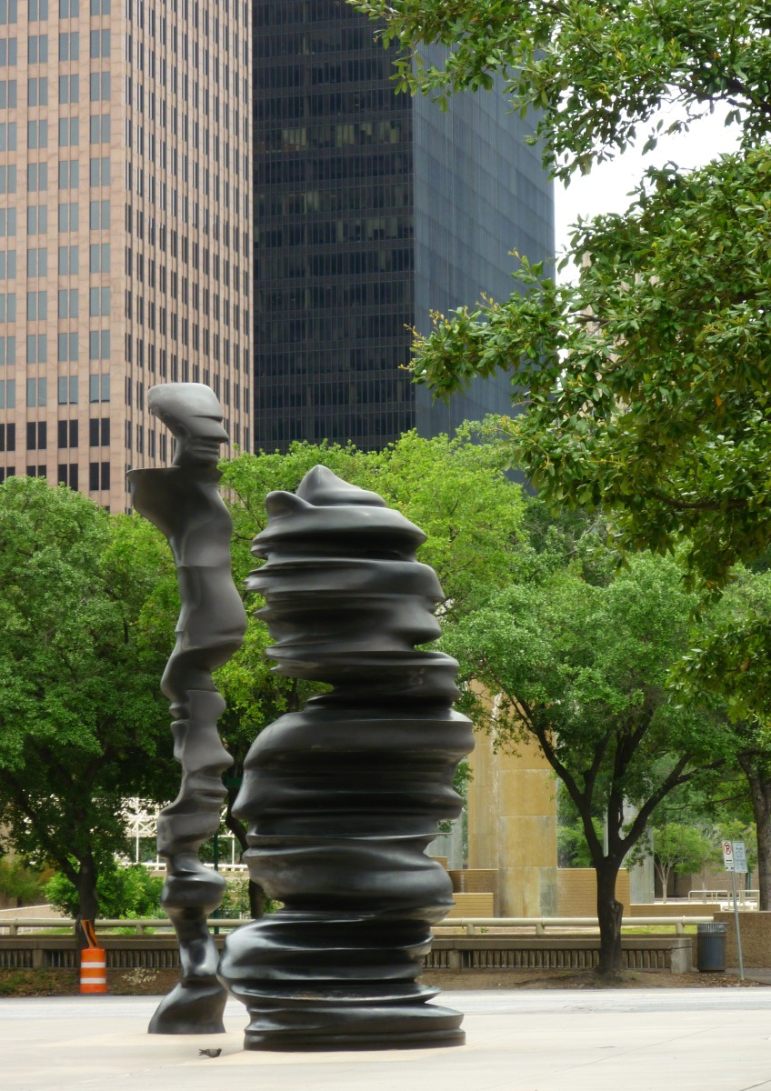 Photo of the sculptures with Tranquility Park as a backdrop.
