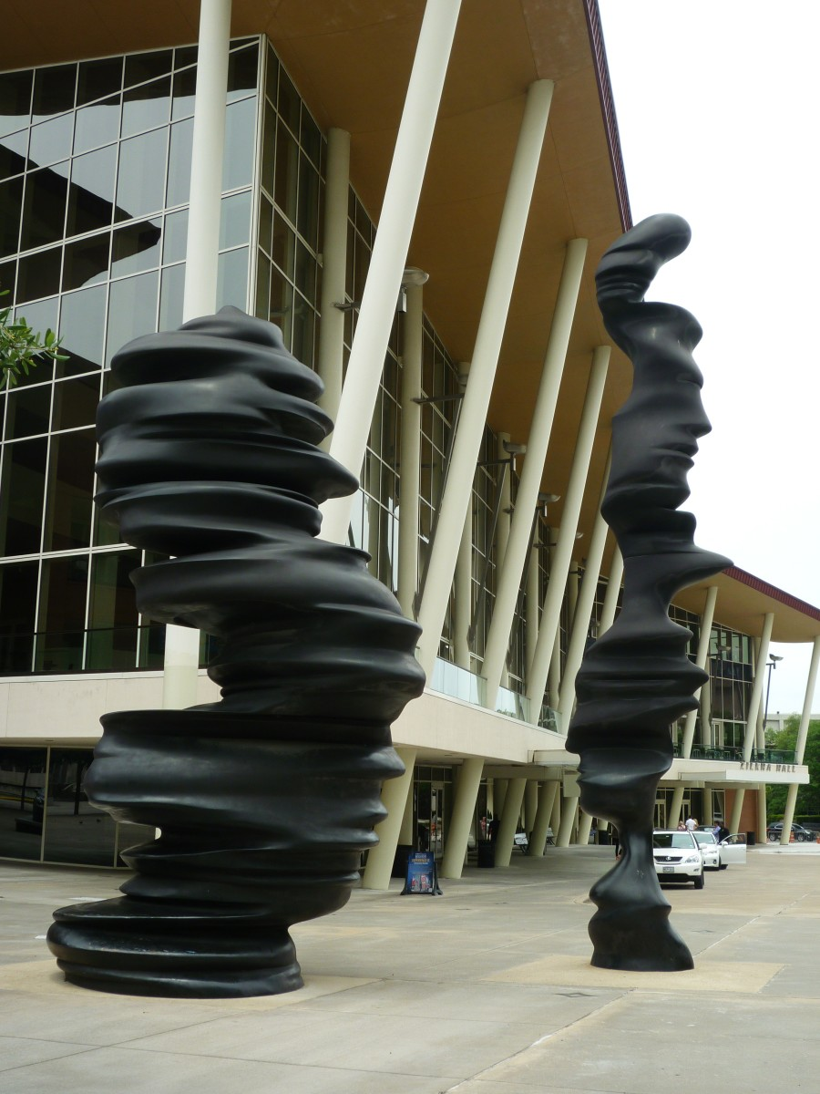 Sculptures with background of the Hobby Center
