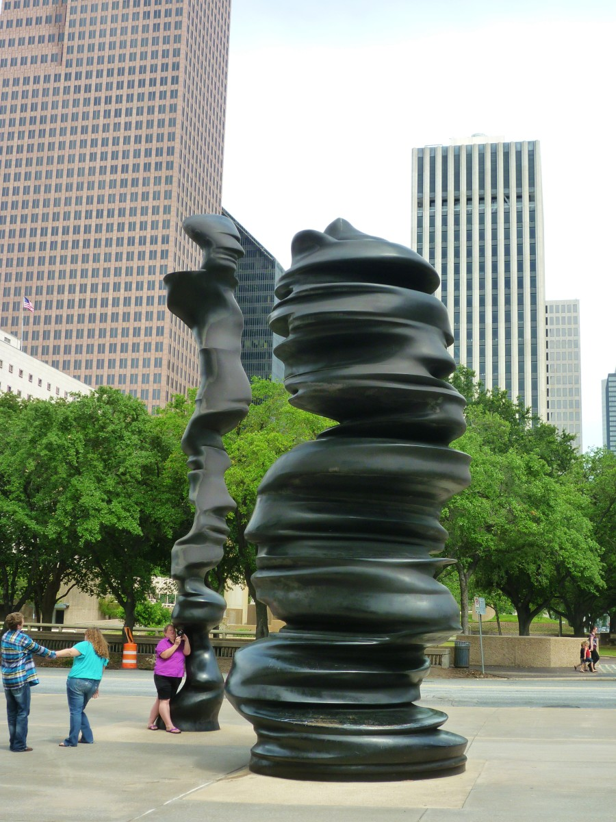 """In Minds"" sculpture by Tony Cragg in downtown Houston, Texas"