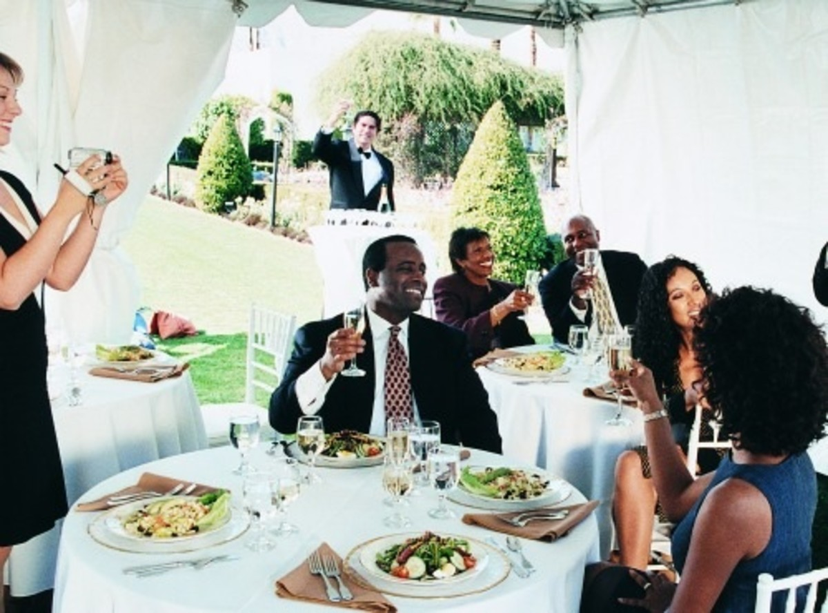 Wedding Guests Having Dinner