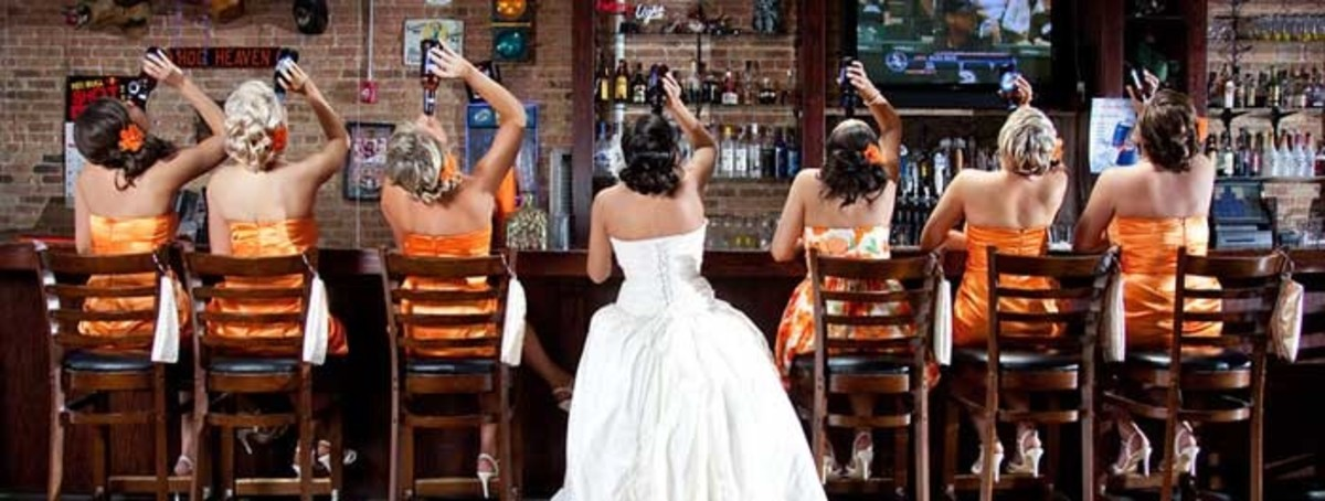 Bridal Party At Wedding Bar