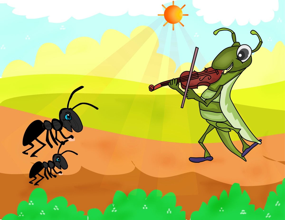 The ant and the grasshopper - story telling for kids