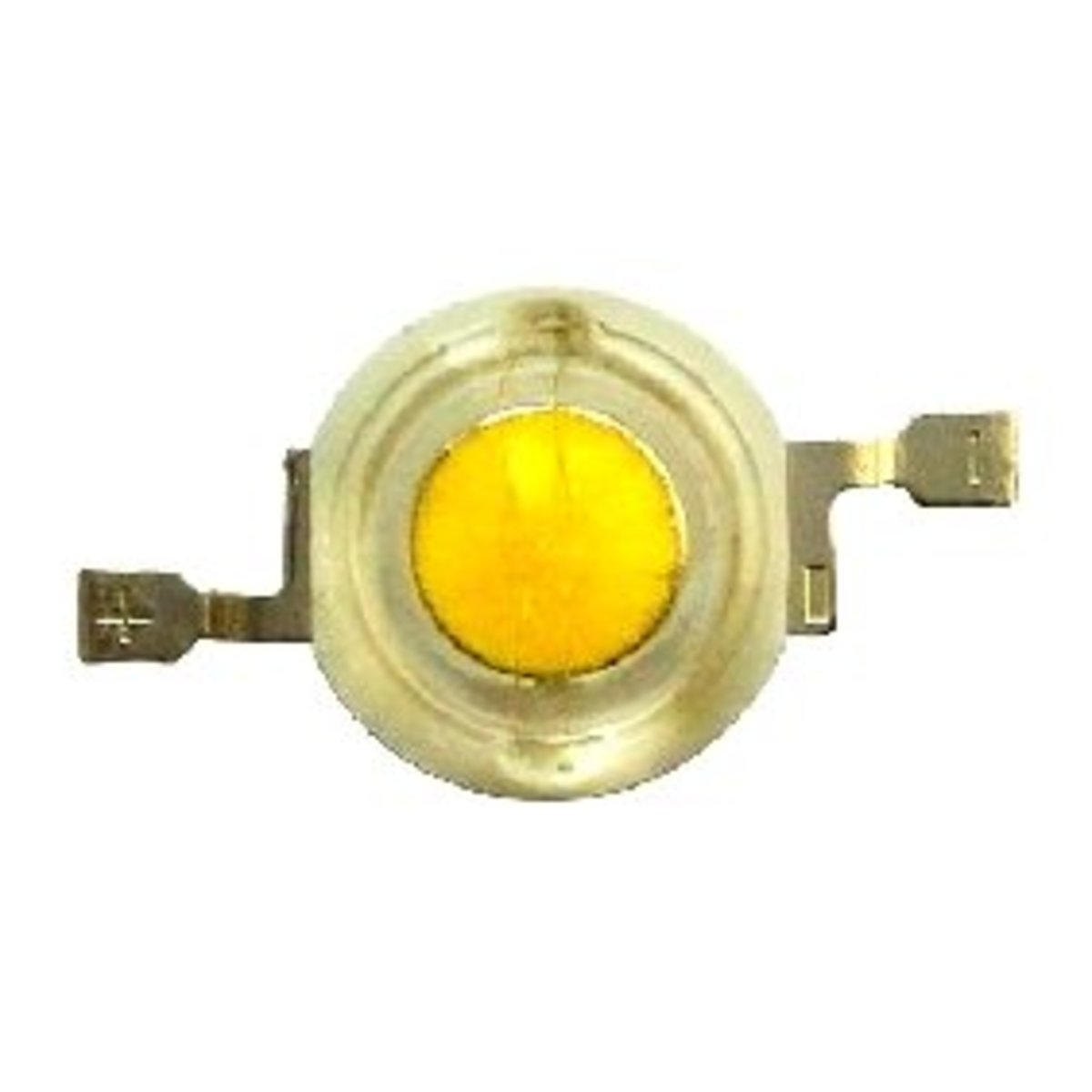 As shown in the figure, a 1 watt white led is a surface mount device having two lateral terminals. The terminals have polarity, it may seen embossed over the terminals itself for easy identification.