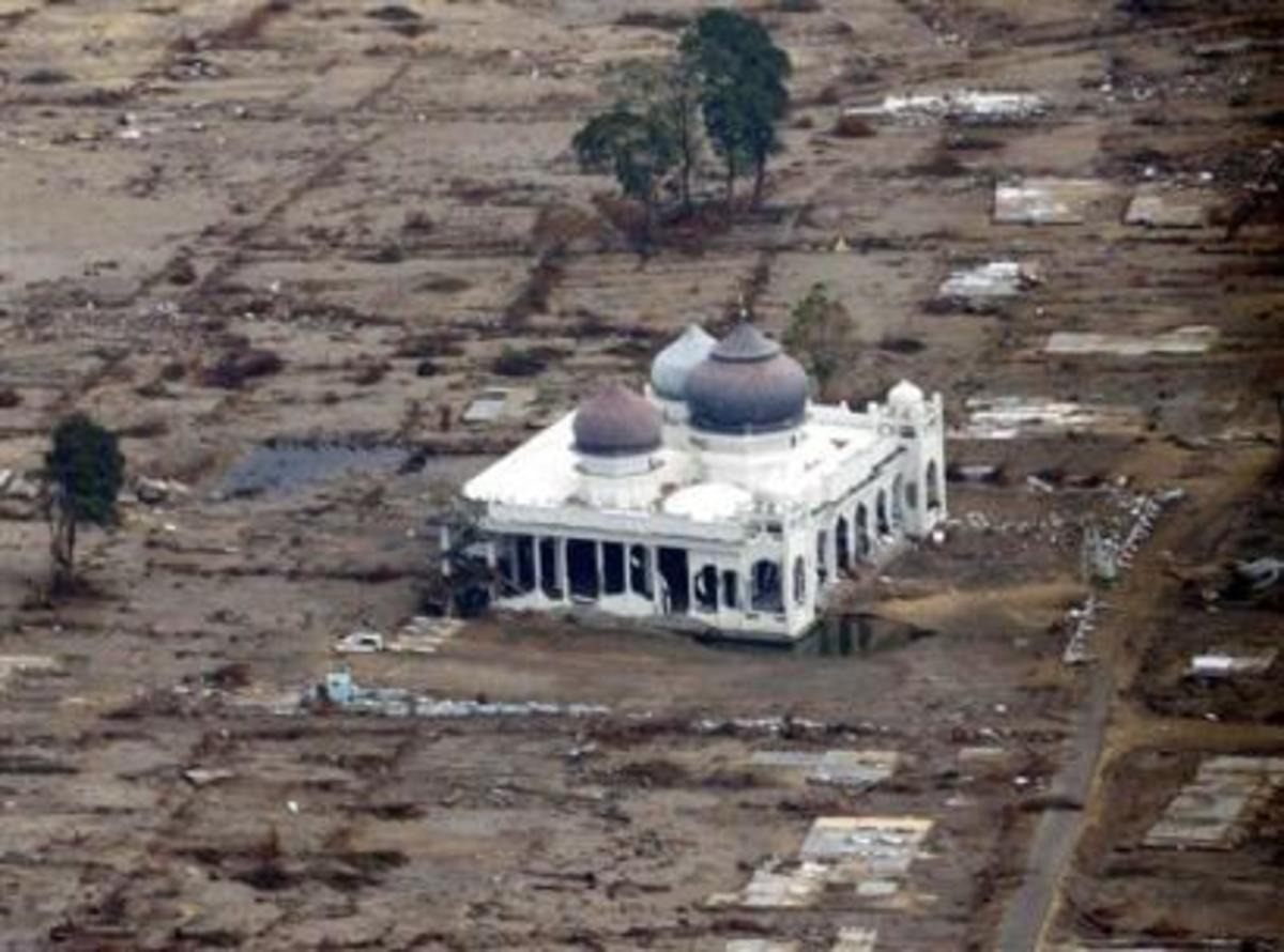 Allah's miracle. After the Tsunami hit Indonesia, only this mosque remained and many people survived by entering the mosque. It was not affected at all by the Tsunami