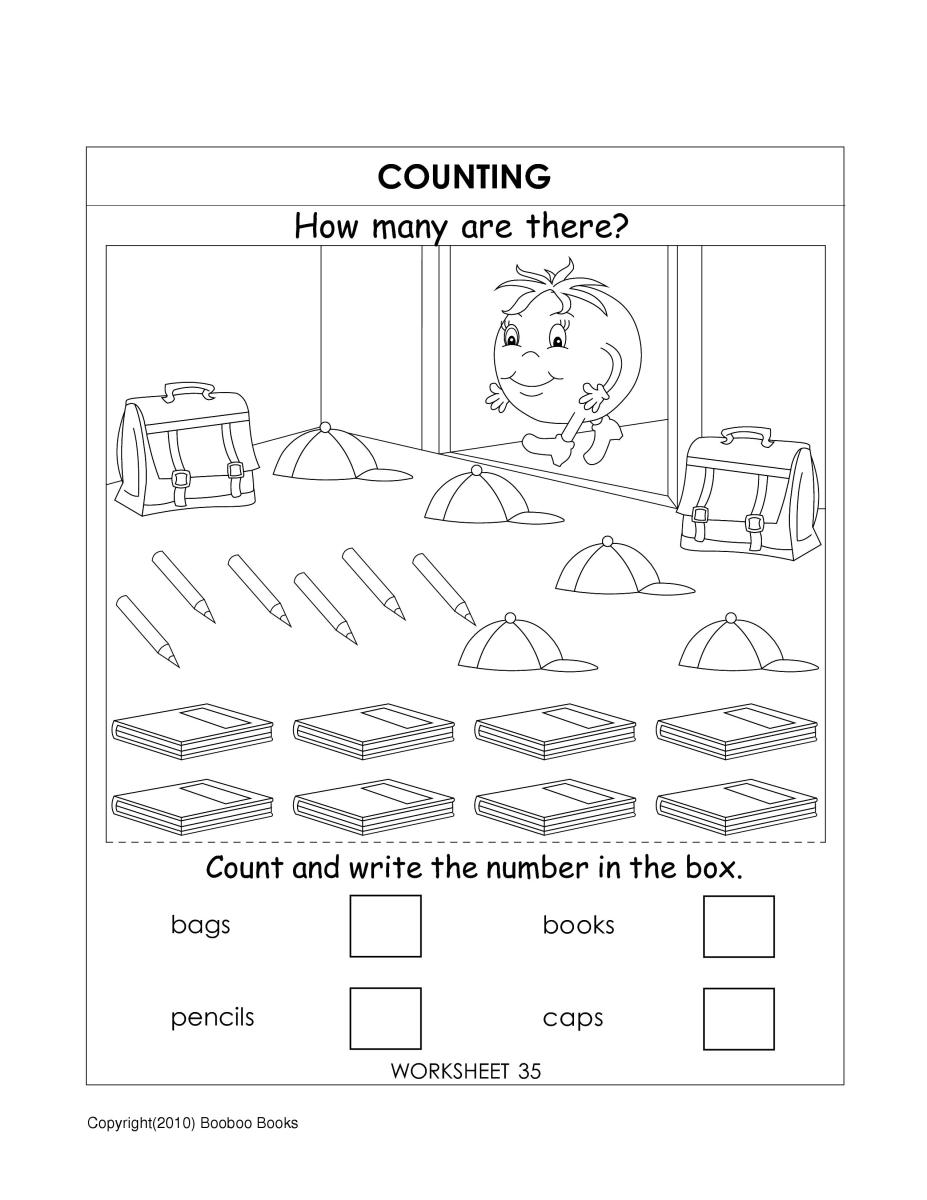 Kindergarten counting worksheet