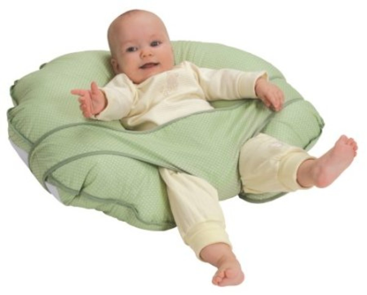Nursing pillows like this can be used as a tummy time aid too, and can help the baby sit up with adequate support. It is also reported to 'enhance digestion and help reduce reflux'.