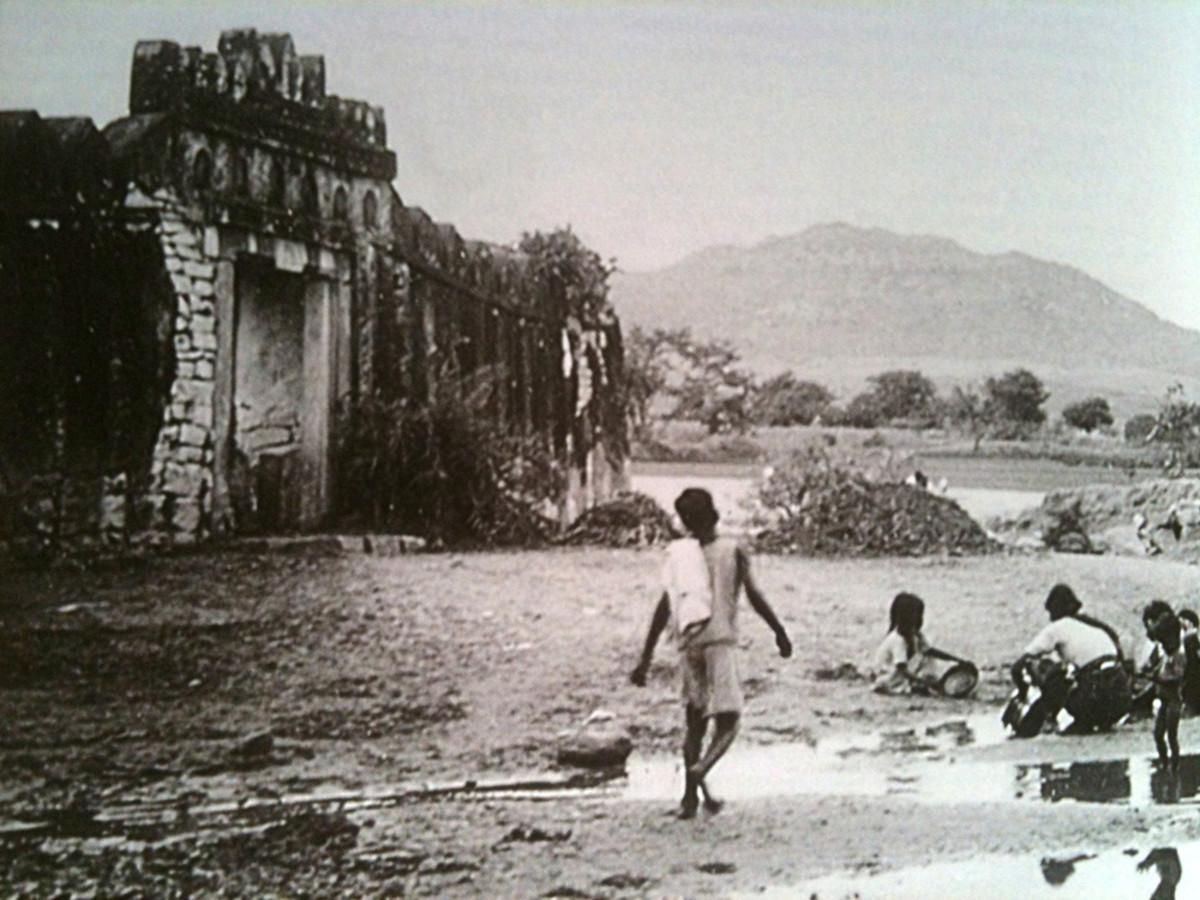 Una vista de la forma en Puttaparthi miró en el momento del nacimiento de Swami.