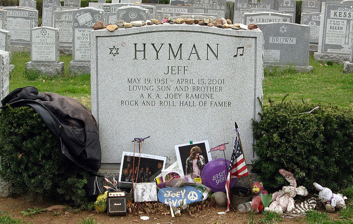 Headstone of Jeffry Hyman, aka Joey Ramone. May 19, 1951 – April 15, 2001.