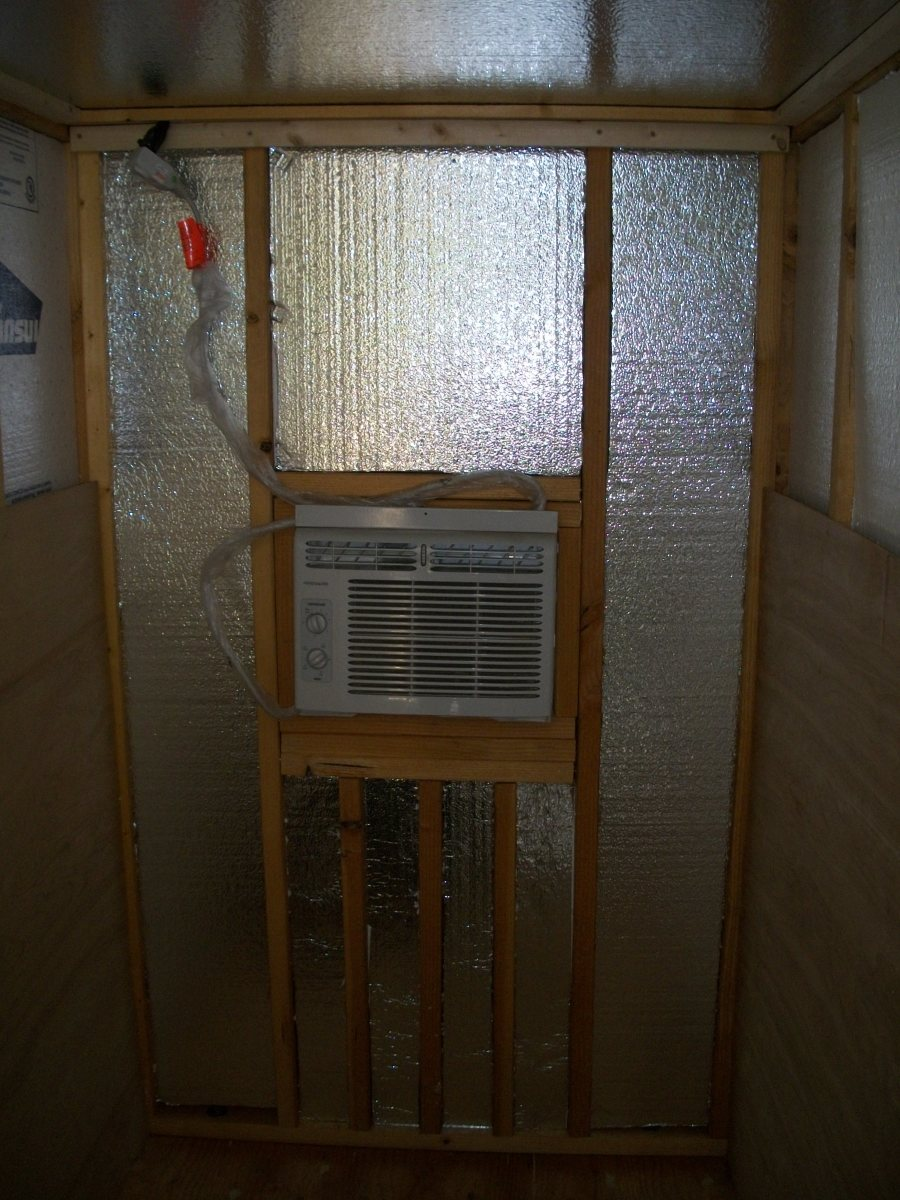 Back wall after insulation installed