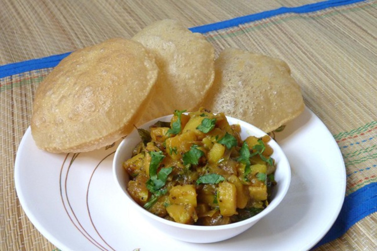 Delicious Aloo Baji served with fresh Poori's