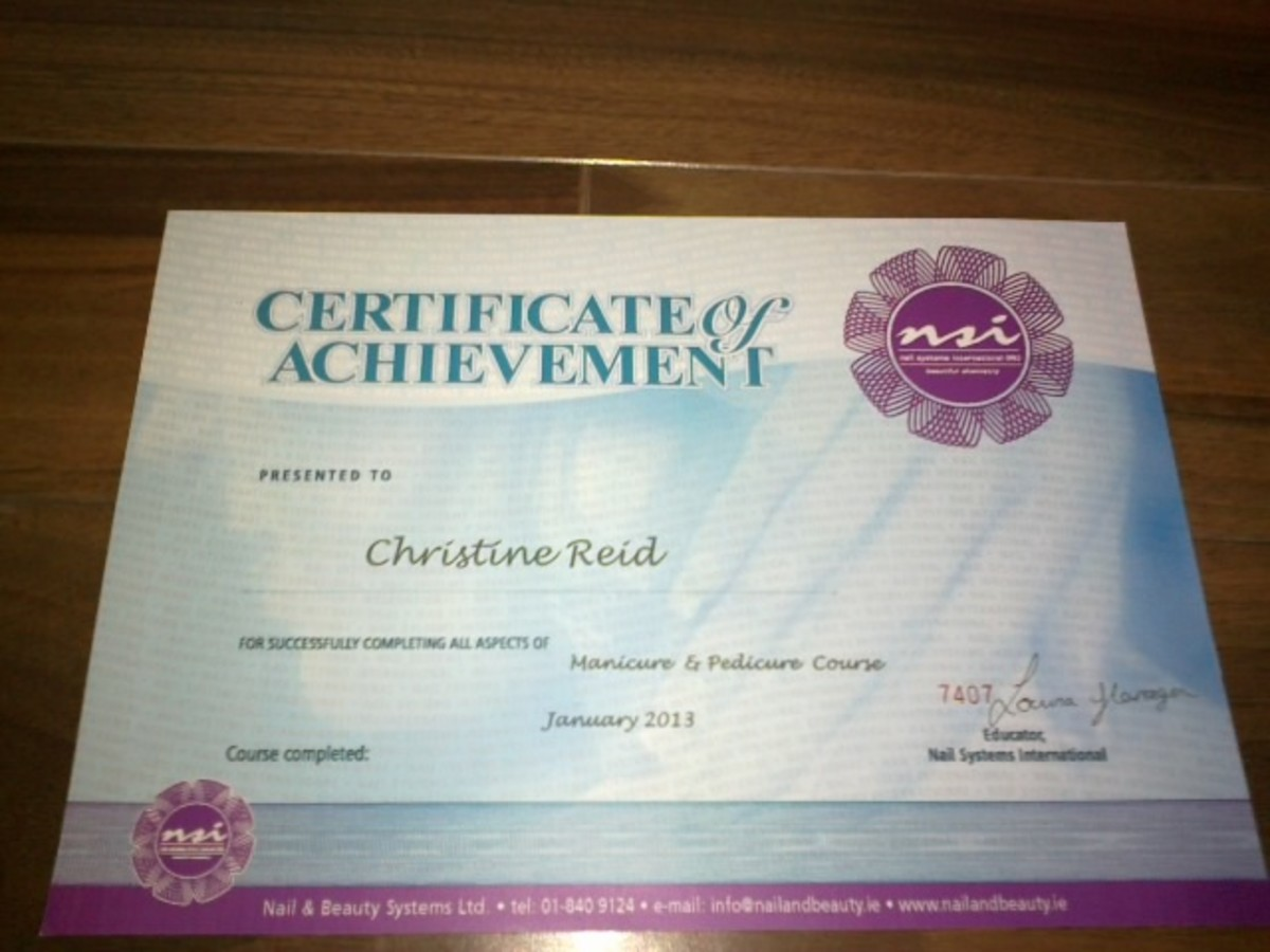 Certificate of Achievement on completion of the Manicure and Pedicure course. A good start for anyone wishing to pursue a career in the nail industry or open your own nail salon.