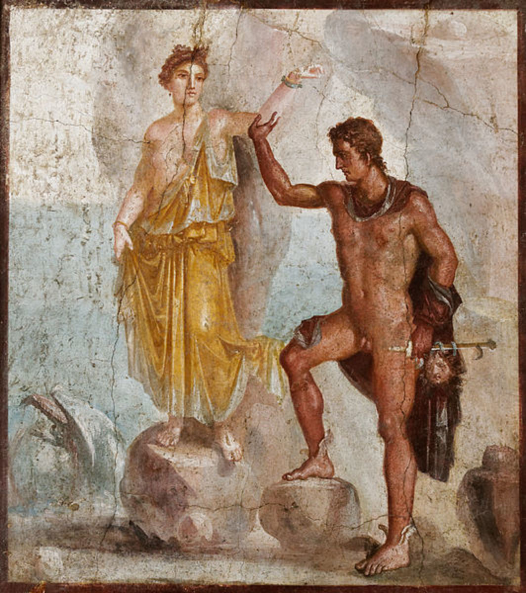Perseus and Andromeda: Pompeian fresco from the House of the Dioscuri, now in the Museum of Naples.