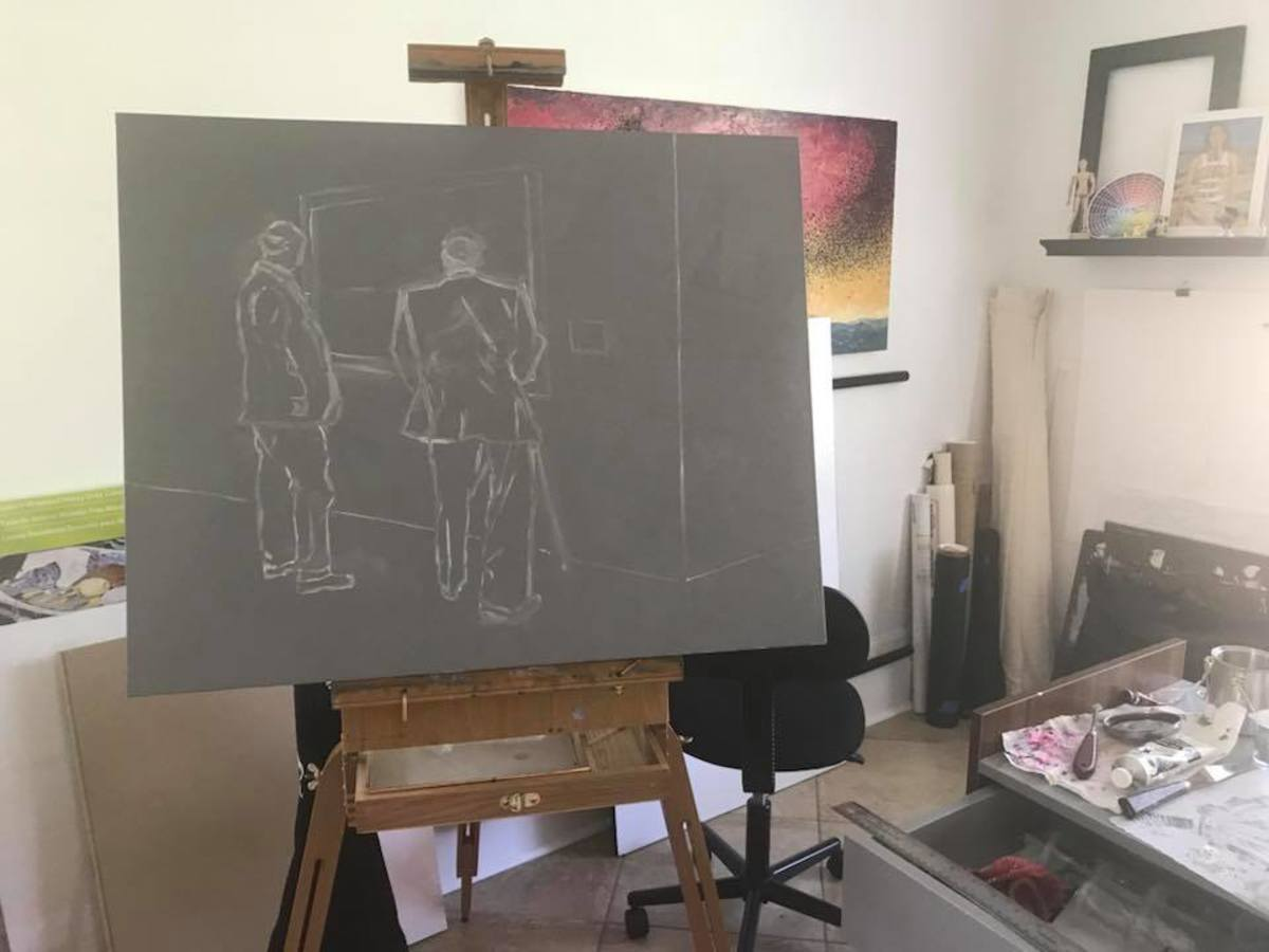 Studio shot with in-progress painting. Photo by Corinna Nicole