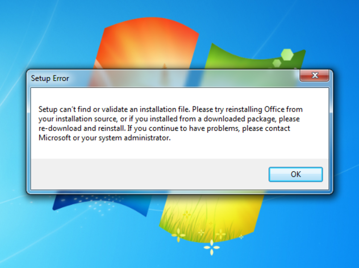 "Office Installation Error: ""Setup Can't Find or Validate an Installation File…"""