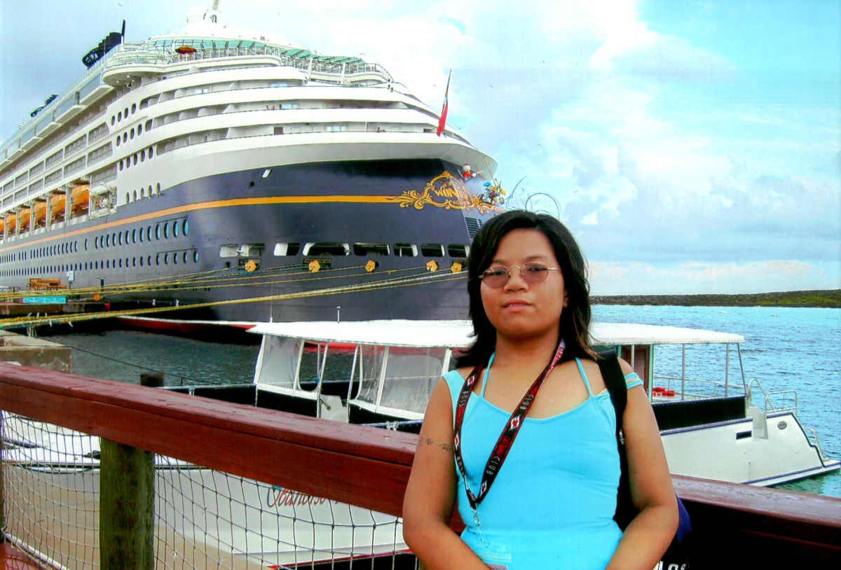 Me on Castaway Cay, with the Disney Wonder in the background, August 2008