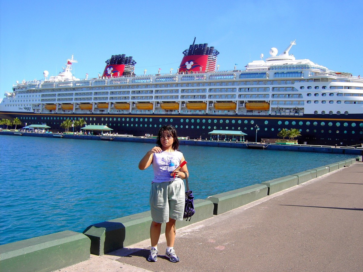 In front of the Disney Wonder In Nassau, Bahamas, August 2008