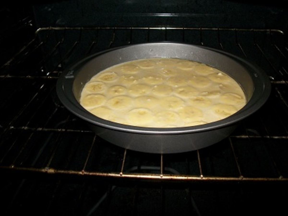 Banana frittata being baked in an oven