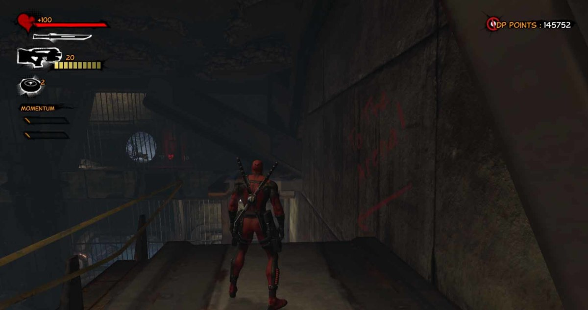 Deadpool follow the red writing on the wall to get to Genosha Prison.