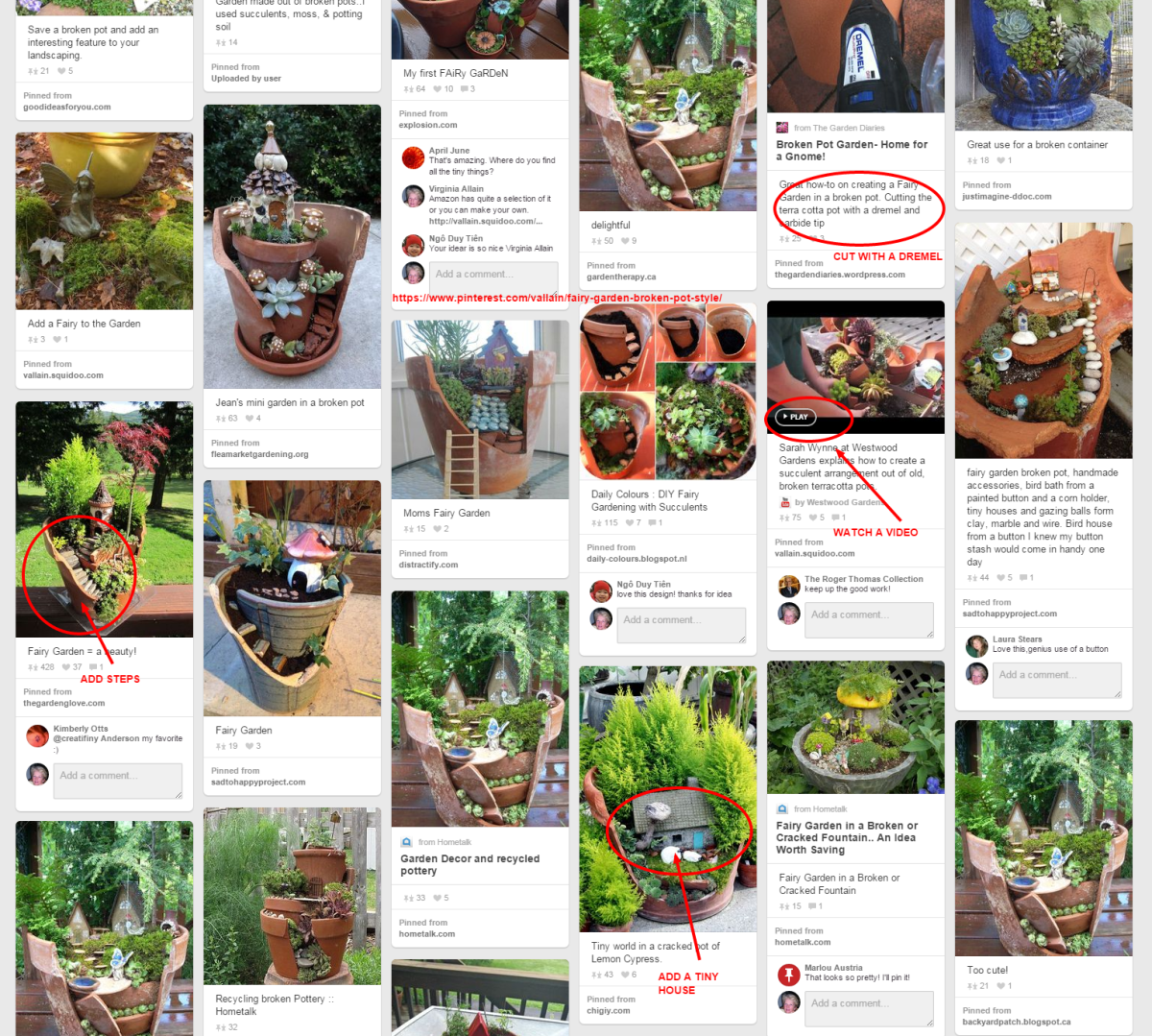 Here's a sample of the ideas I've collected on my Fairy Garden - Broken Pot Style on Pinterest.