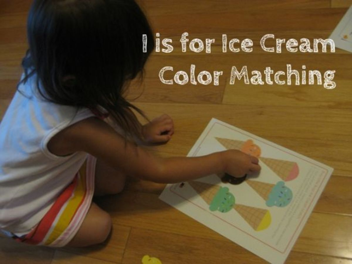 alphabet activites for kids i is for ice cream color matching