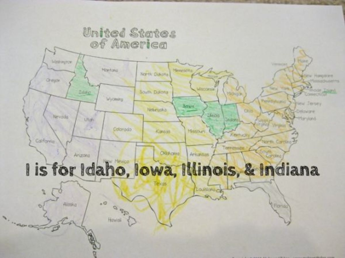 alphabet activites for kids i is for idaho illinois indiana iowa