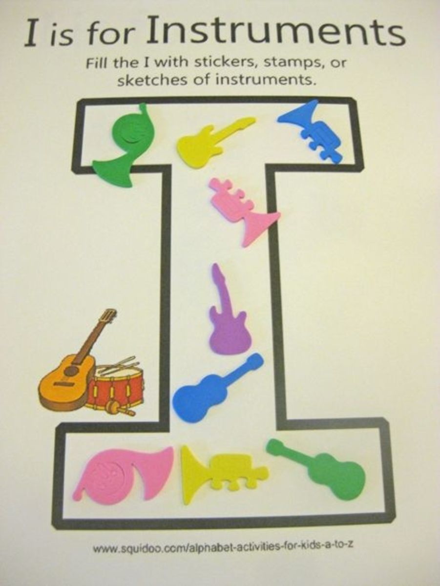 alphabet activites for kids i is for instruments