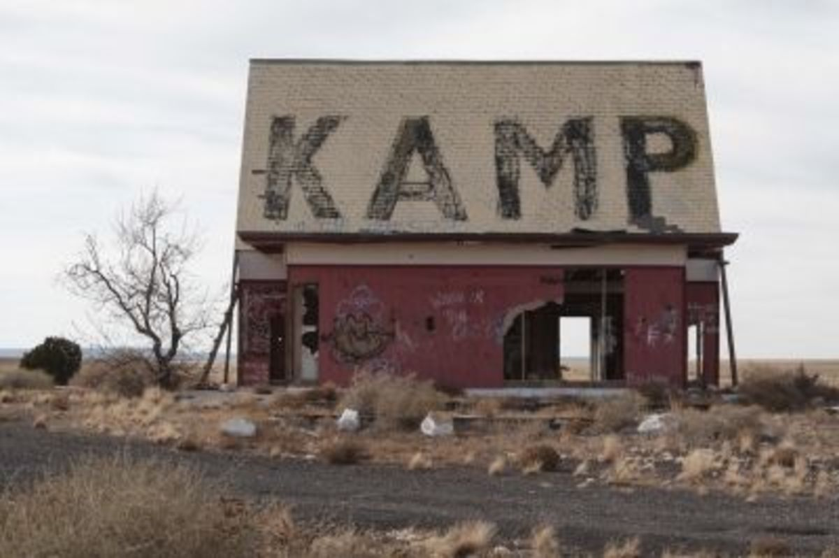 """A relic from the Two Guns Kamp Ground, now a favorite canvas of graffiti """"artists"""""""