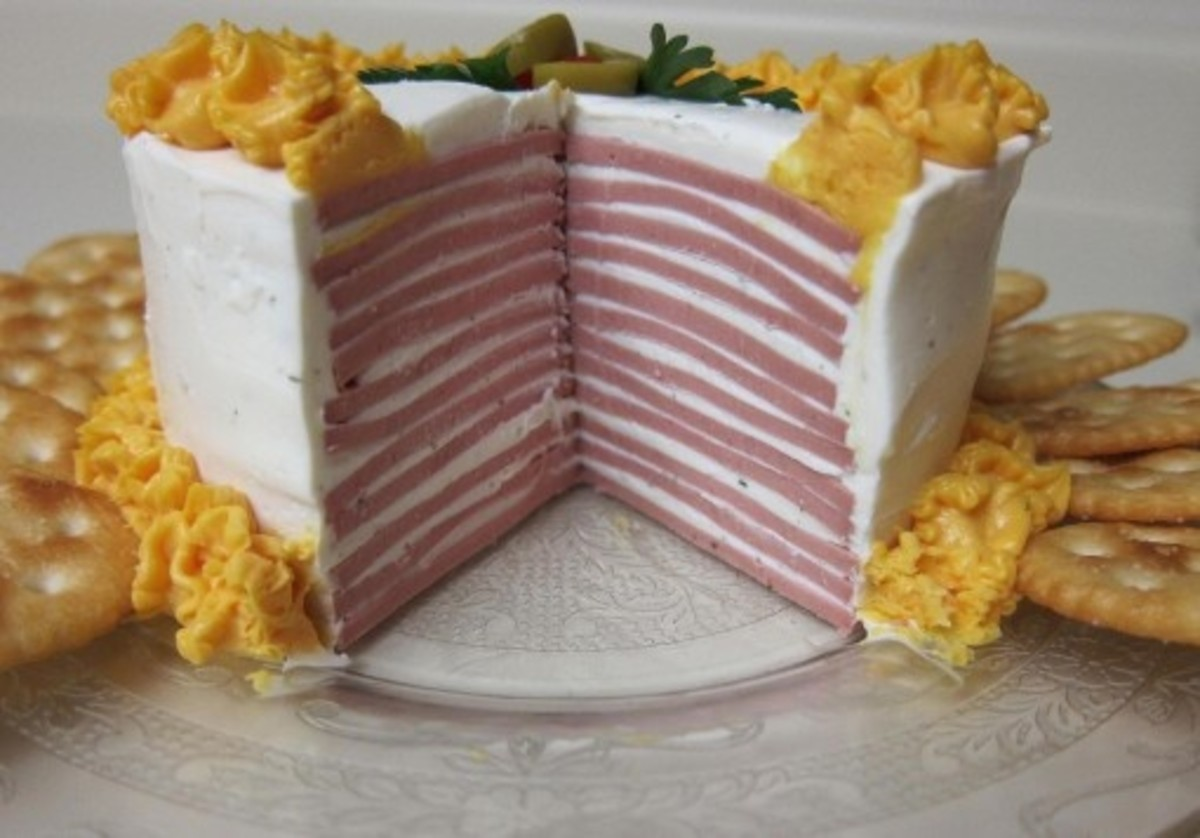 Baloney Cake: Baloney layered in between a mixture of cream cheese and ranch dressing, along with aerosol sharp cheddar cheese and crackers. Bring this to your next party!