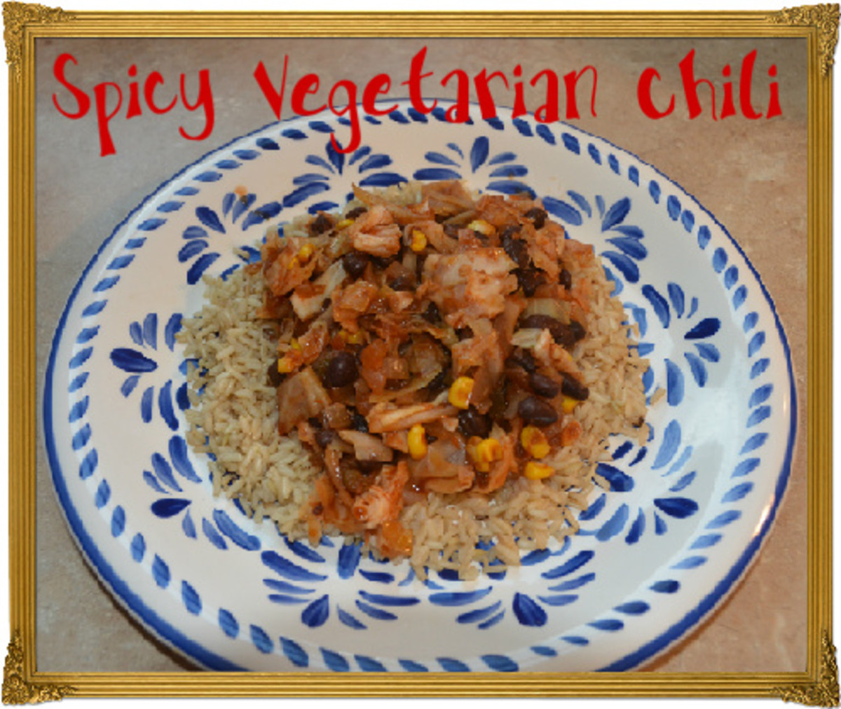 Spicy Vegetarian Chili with Cabbage and Black Beans served over brown rice