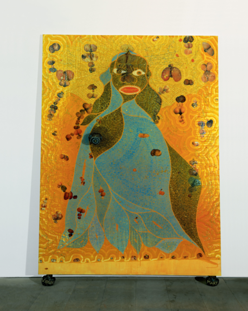 'The Holy Virgin Mary', painting on canvas, by Chris Ofili