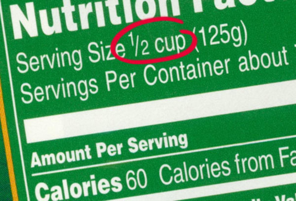 fine print of serving size on food label