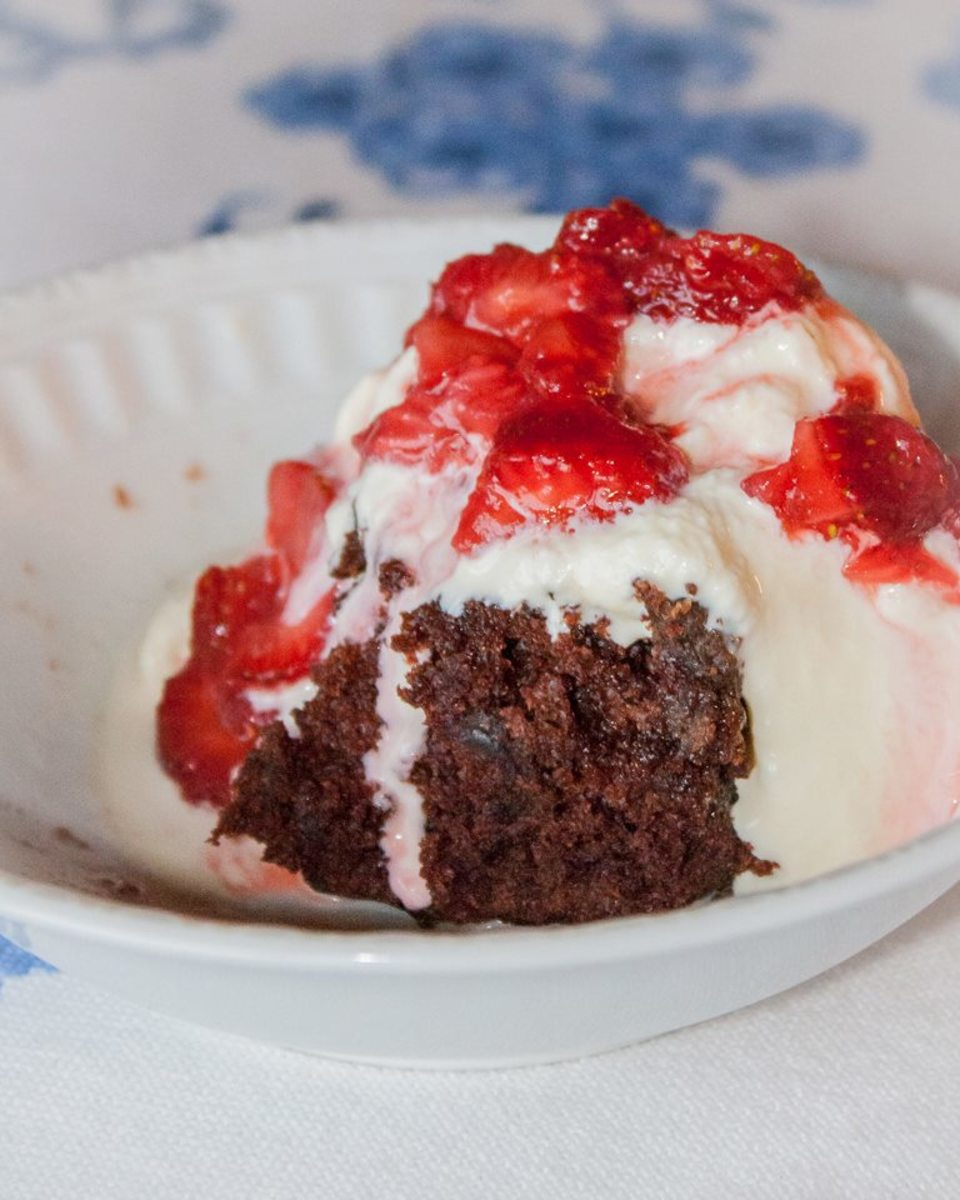 Home made ice cream, brownies, and strawberries, a dessert you won't forget