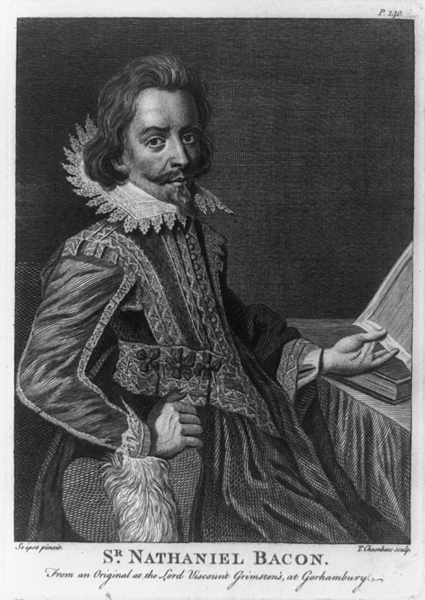 Nathaniel Bacon Engraving by T. Chambars