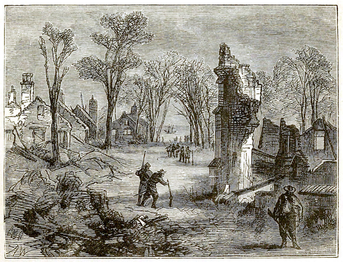 1878 depiction of the ruins of Jamestown following its burning during Bacon's Rebellion.