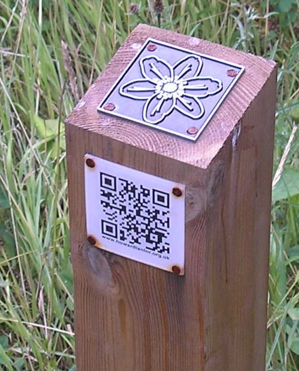 Information post with metal plaque and QR code