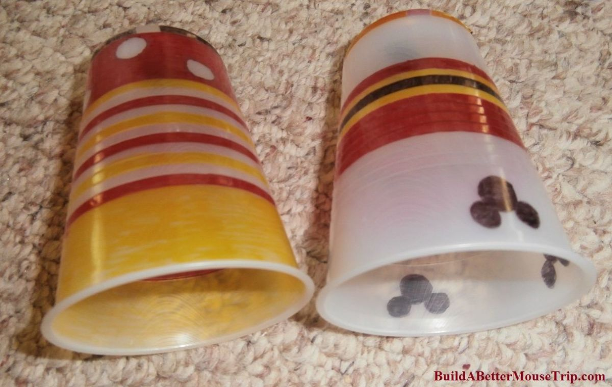 Plastic cups that have been decorated for shrinking.