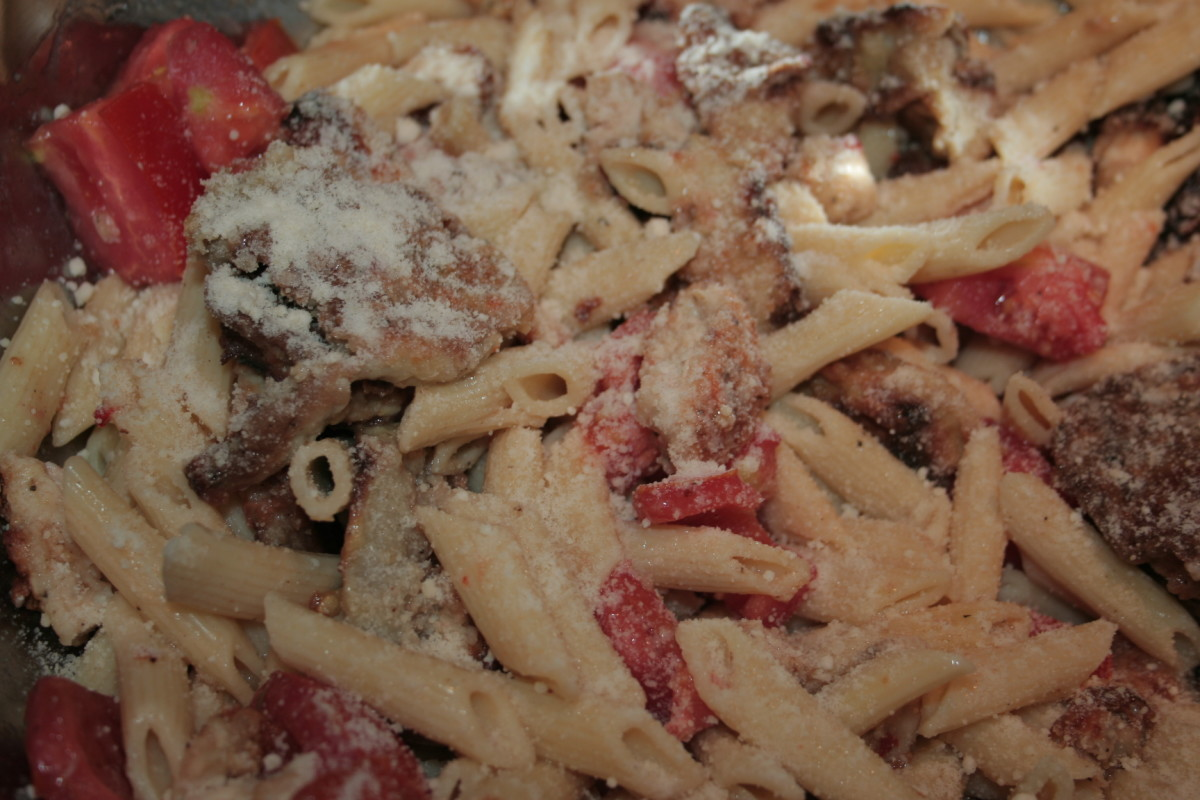 White eggplant recipe, with chicken, penne pasta and freshly picked red garden tomatoes!