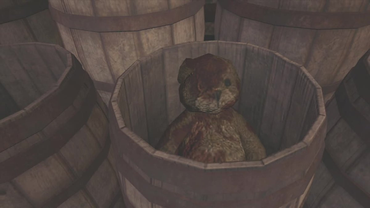 The Teddy Bear can be found sitting in a barrel.