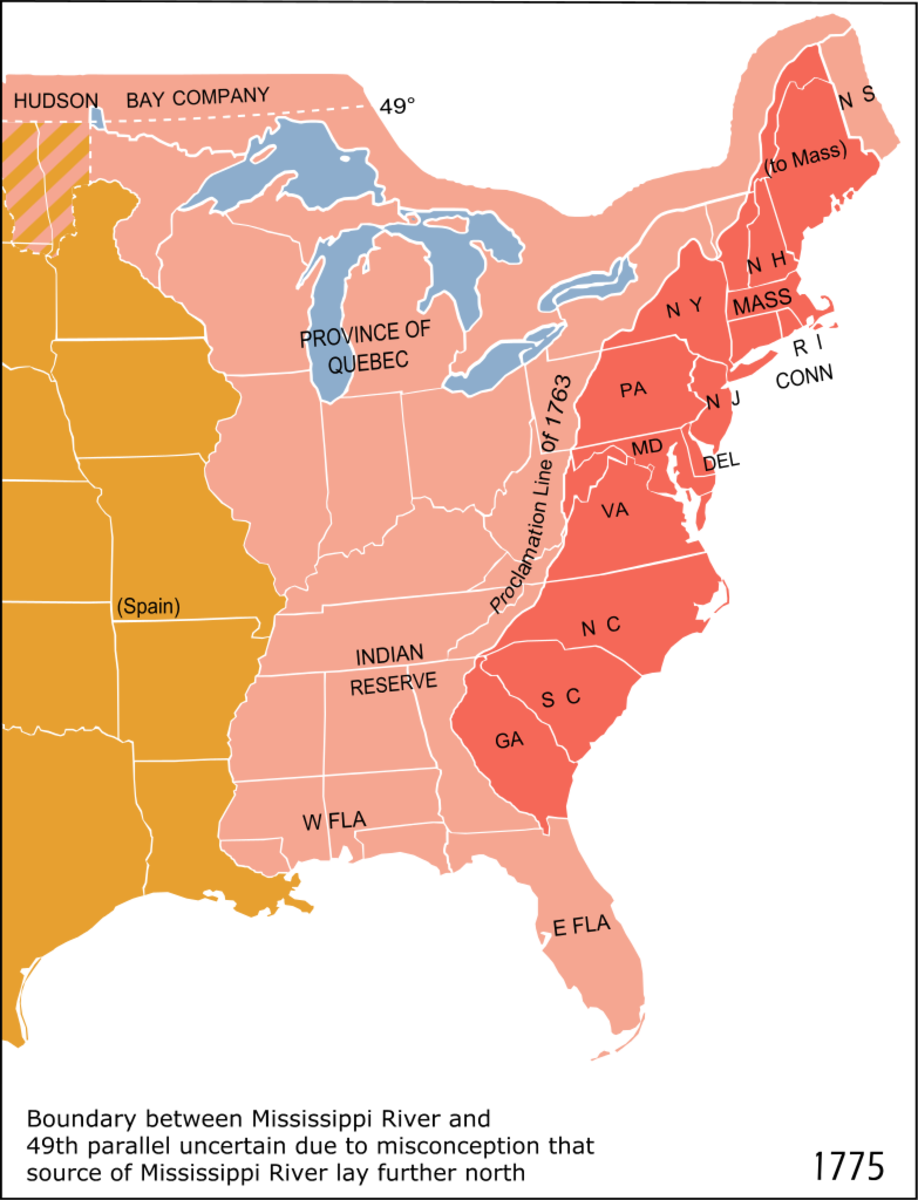 """1763 Royal Proclamation Line - A portion of eastern North America; the 1763 """"proclamation line"""" is the border between the red and the pink areas."""