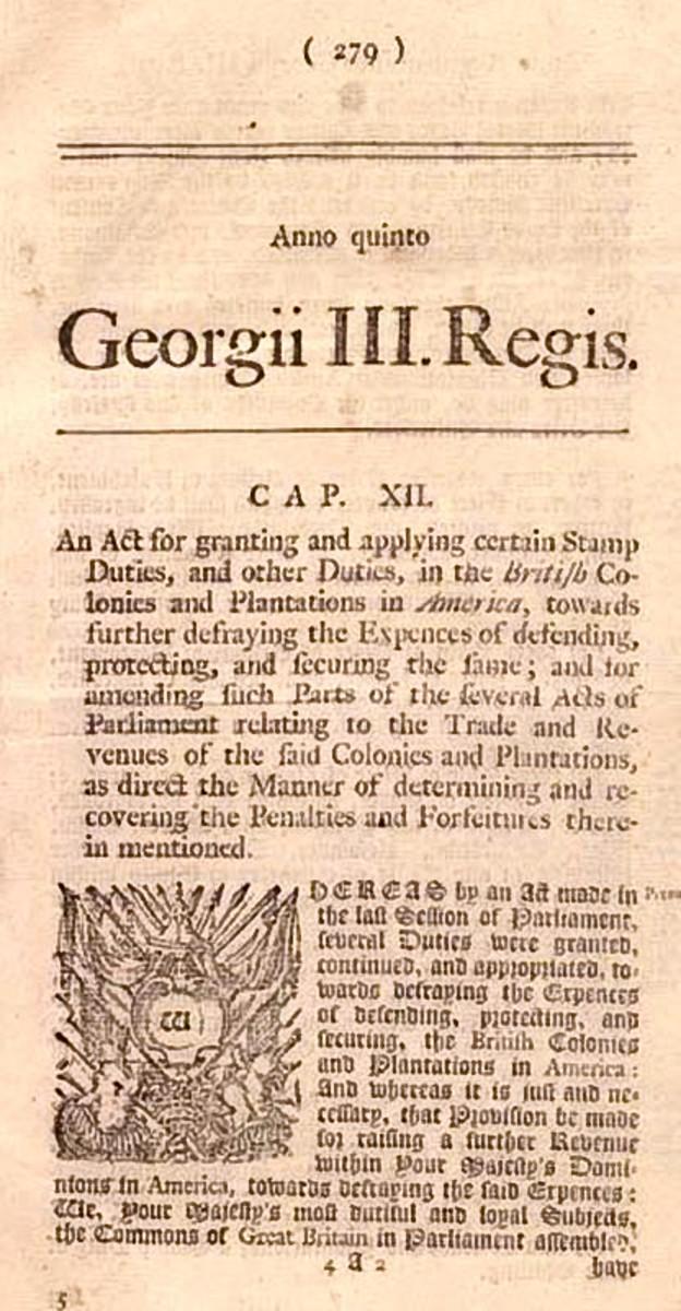 Newspaper posting of Stamp Act
