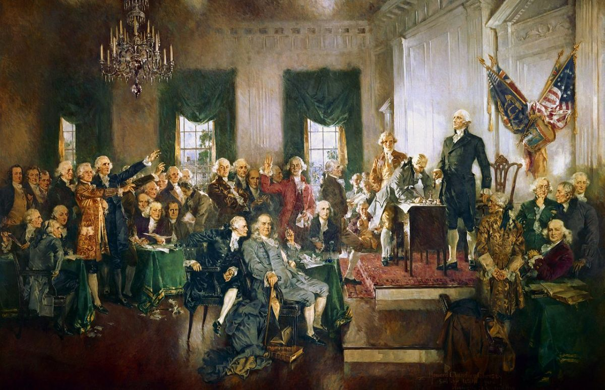 Signing the Constitution, 'unanimous' by delegation. Eleven states ratify to begin in 1789, unanimously 1790