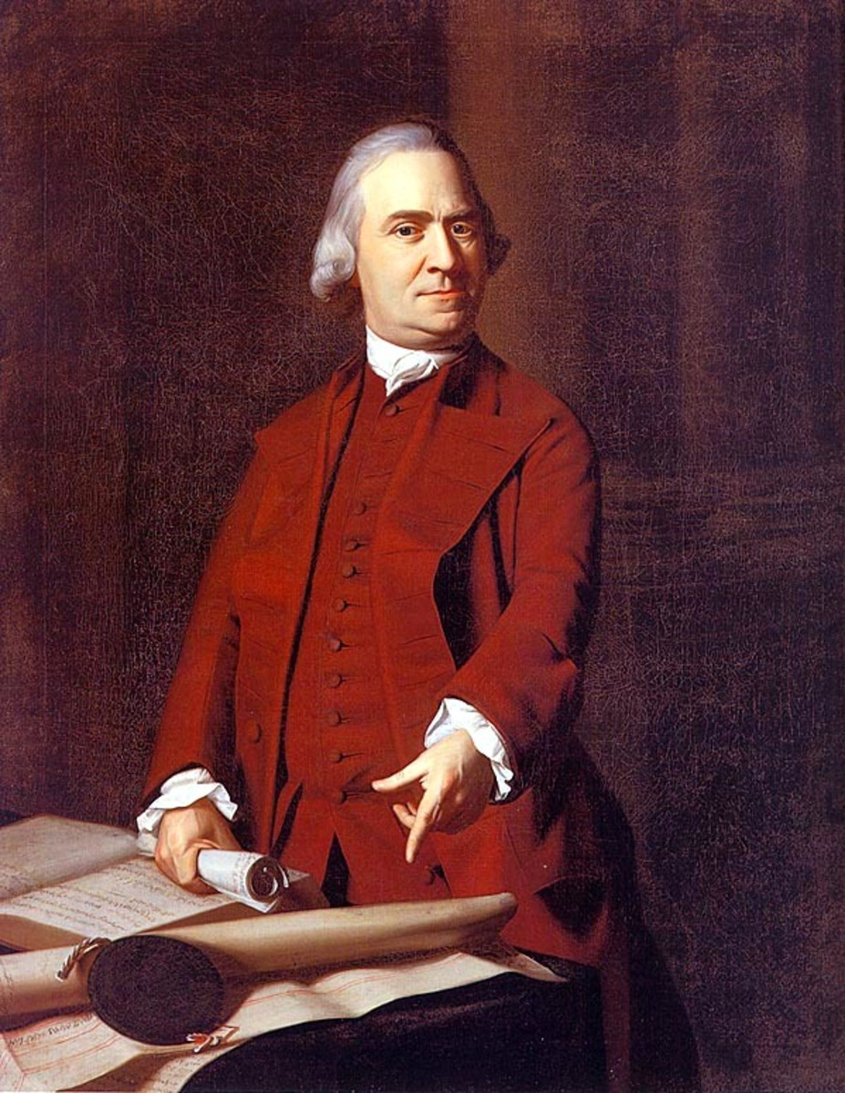 In this c.1772 portrait by John Singleton Copley, Adams points at the Massachusetts Charter