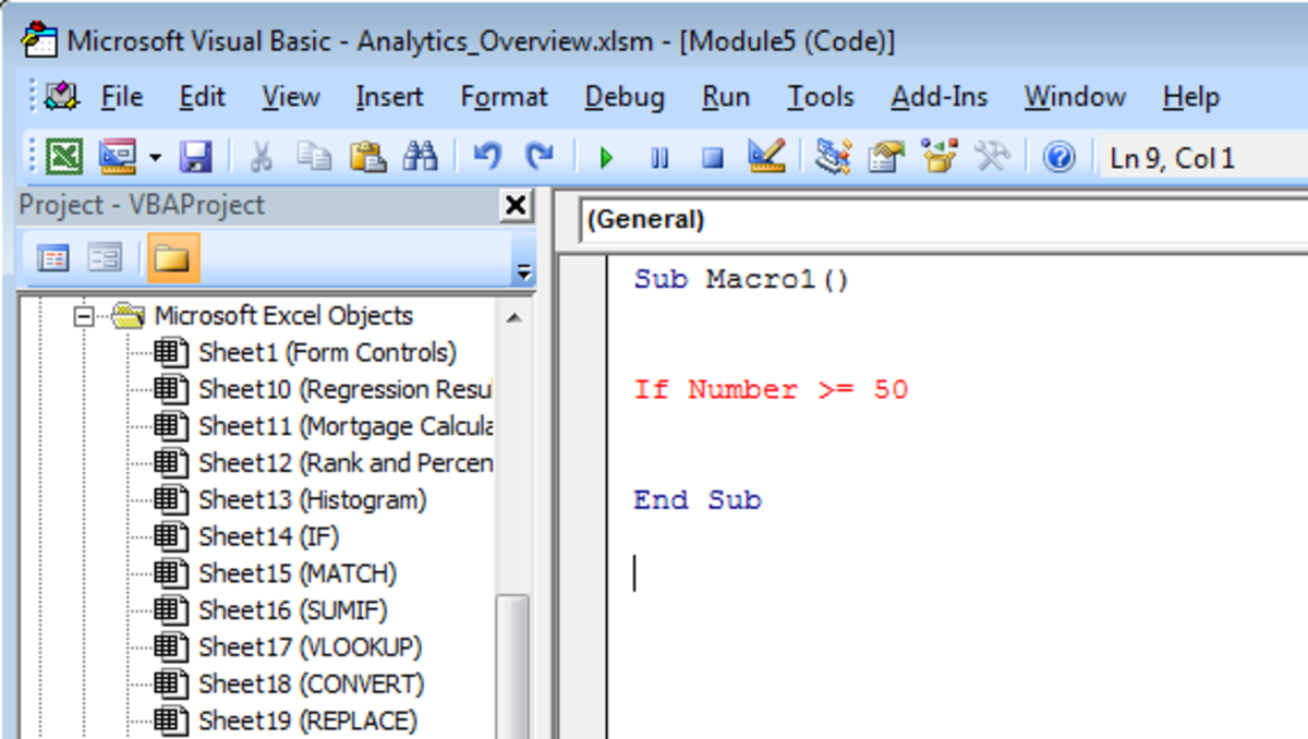 Example of a line with an error in a Visual Basic Module in Excel 2007 and Excel 2010.