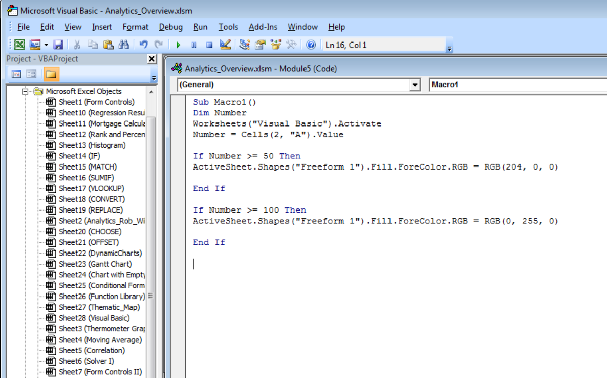 Microsoft Visual Basic modules in Excel 2007 and Excel 2010.