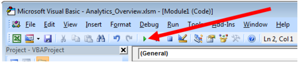 The Run button in a Visual Basic Module in Excel 2007 and Excel 2010.