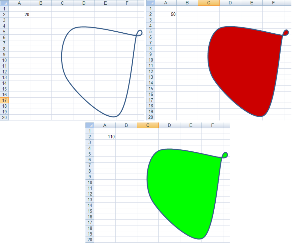 Illustration of Visual Basic code colouring the shape based on the contents of cell A2 in Excel 2007 and Excel 2010.