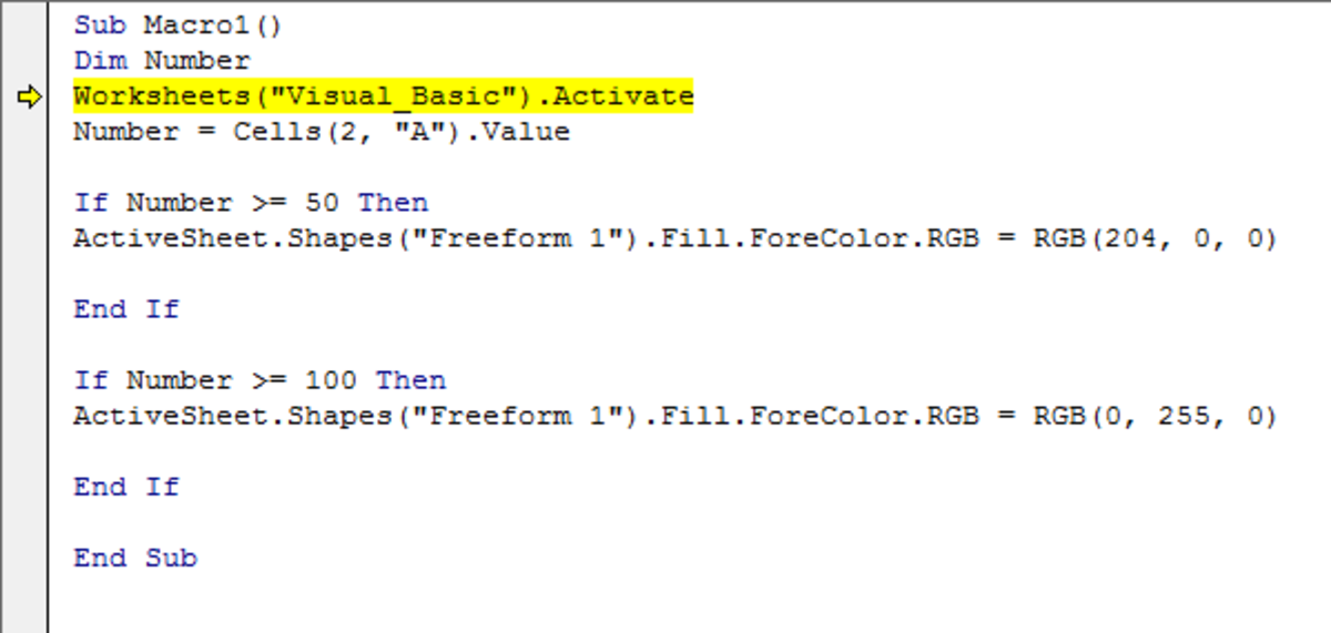 Excel 2007 and Excel 2010 showing an error exists in the Visual Basic code that was run.