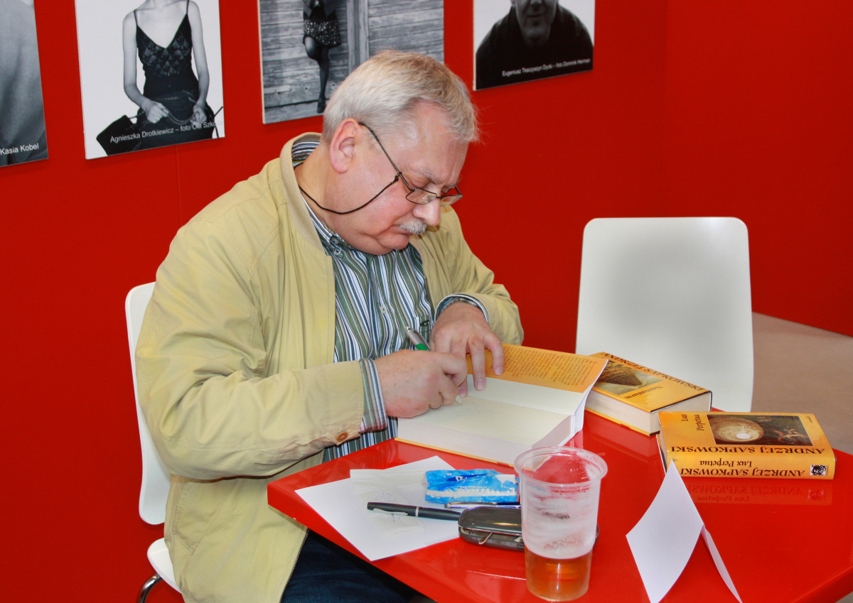 Andrzej Sapkowski at Book World Fair in Prague, Czech Republic.