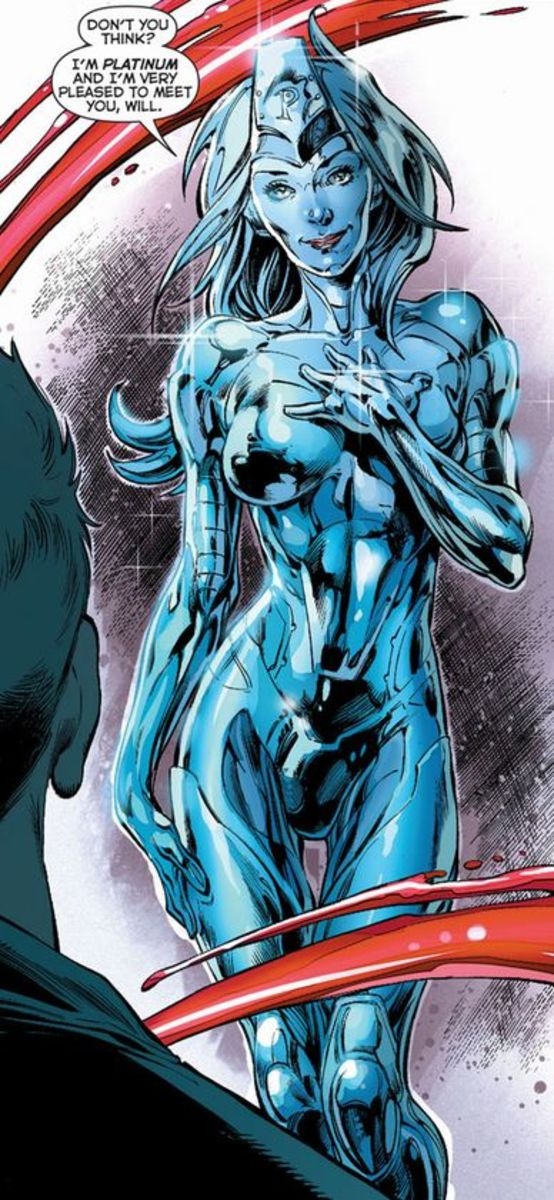 Platinum, The female member of The Metal Men. Excerpt from Justice League #28 (2014)